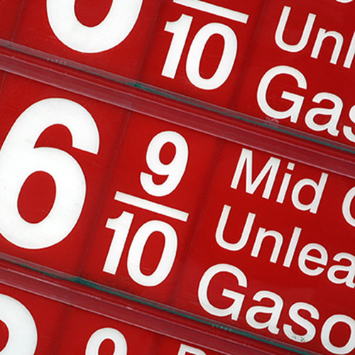 Gas station fuel pricing sign