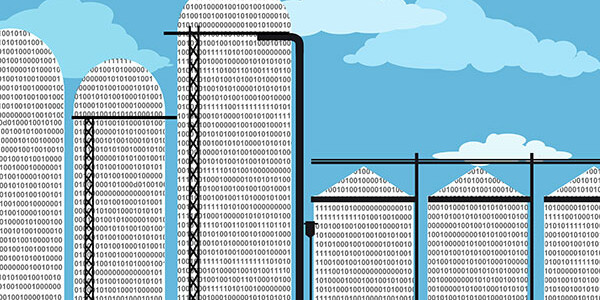 Data silo filled with computer code